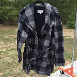 Plus size Ellos warm plaid jacket 2X belted #99